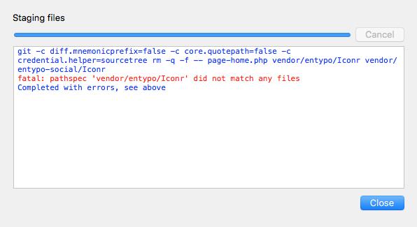 fatal: pathspec 'vendor/entypo/Iconr' did not match any files